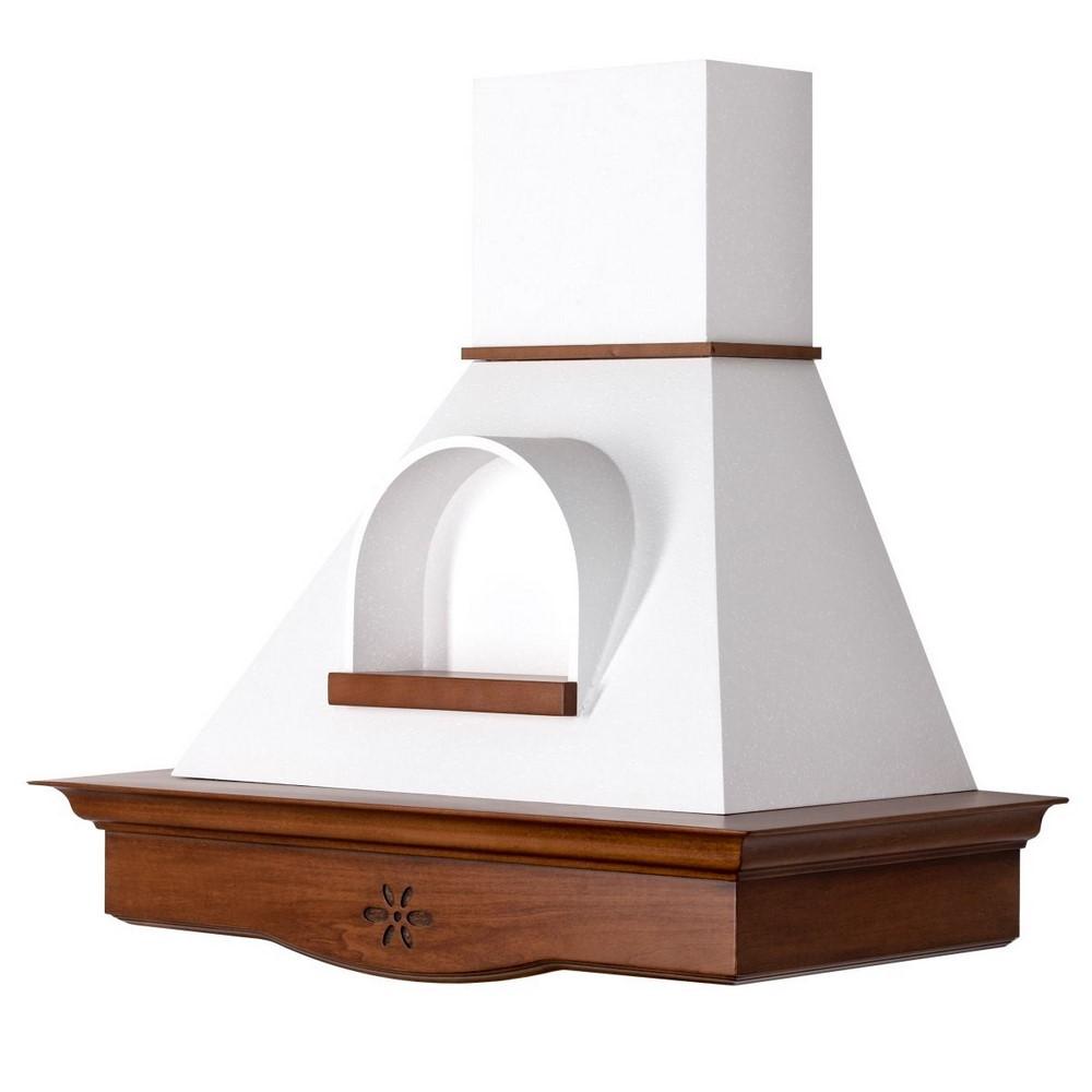 ANNA 90 cappa cucina legno Noce classico, cono bianco nicchia, mot. B52 Coppari