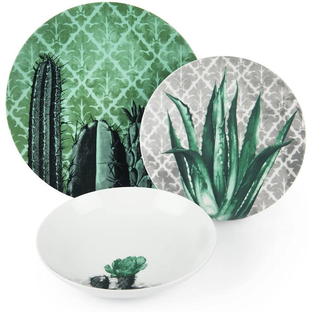 Servizio piatti porcellana decorata BARRIO DE CACTUS 18 pezzi Excelsa